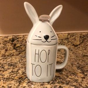 Rae Dunn HOP TO IT  Mug with 🐰 Topper